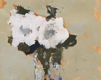 art original acrylic painting on fine art paper, white floral, white roses, white art, flower painting
