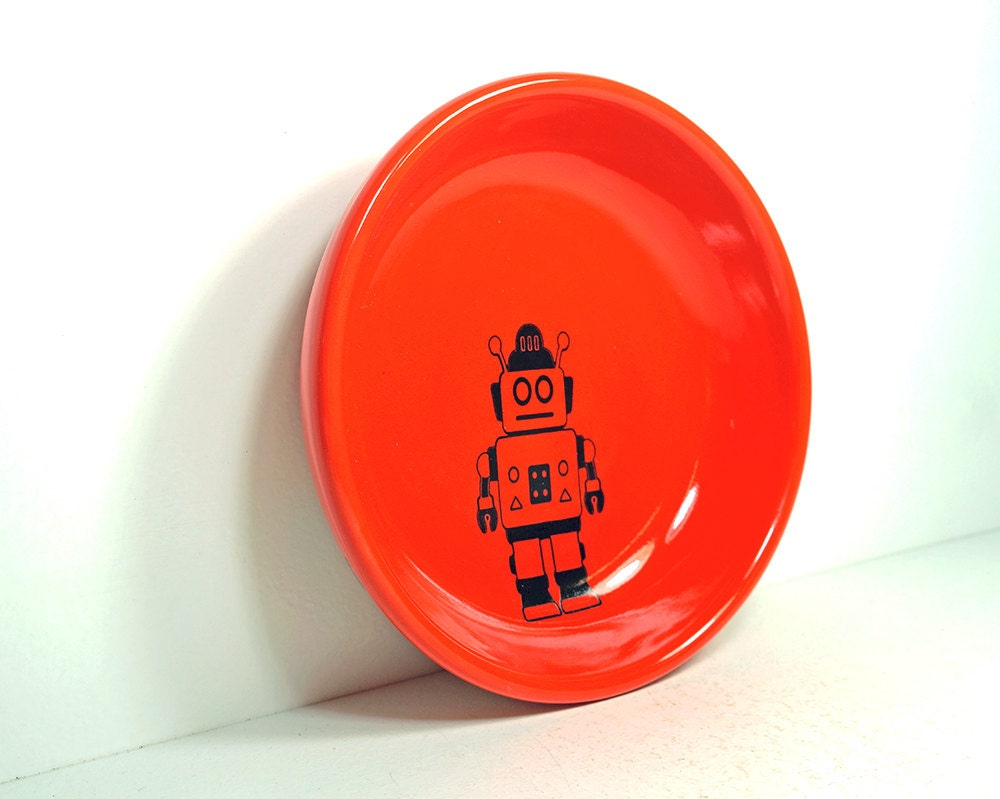 lo bowl with a robot print, shown on a Clementine orange, Made to Order / Pick Your Colour
