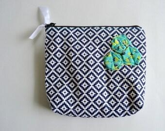 Navy Blue Aztec Zipper Pouch - Zipper Pouch - Green Blue Pouch - Modern Geometric Pouch - Cosmetic Pouch