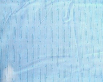 Vintage White and Blue Stripe Sheer Fabric Curtains 45 inches wide 6 yds. 30 inches