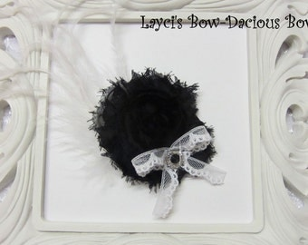 Black {Ellie} Flower Hair Clip, flower clip, shabby flower, black flower, more colors available