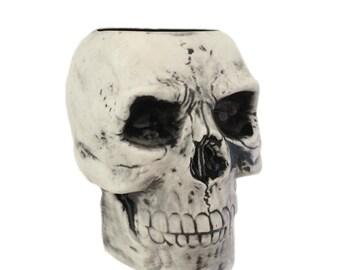 Antiqued Black Ceramic Skull Toothbrush Holder Flower Planter Pencil or Tool Caddy Bath Vanity or Kitchen Decor