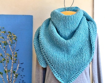 Hand Knit Shawl Seamist Blue / Wool Silk Blend Large Size / Spring Accessory