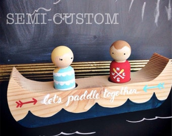 Semi-Custom Peg Doll Canoe for Two -- Sweet Romantic Gift or Playtime Fun!