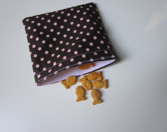 SNACK BAG Brown and Pink Polka Dots one Medium Waterproof Washable Reusable Snack Bags