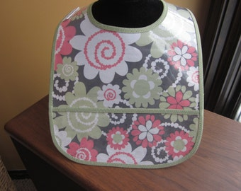 WATERPROOF BIB Wipeable Plastic Coated Baby to Toddler Bib Sage and Coral Flowers