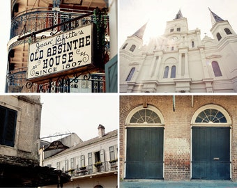 new orleans photography collection, french quarter art, new orleans doors, st louis cathedral, architecture, set of 4 photographs