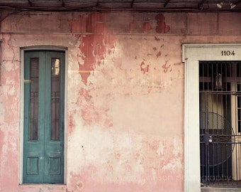 new orleans fine art photography, french quarter art, pink living room wall art, architecture art, green home decor, weathered building