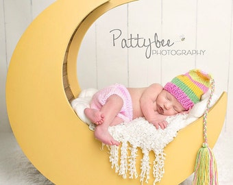 NeWBoRN Baby Girl Knit OuTFiT BaBY PHoTO PRoP Hat Diaper Cover SET Stripe FCN TaSSEL Cap Pink Green Yellow Beanie PiCK CoLOR Coming Home Set