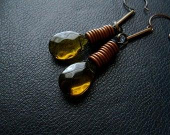 sale - tesla - olive olivine copper coil earrings with tear drop