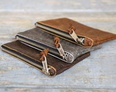 Leather Coin Pouch/ Leather Zipper Wallet/ Leather Bag/ Travel Organizer/ Cord Organizer