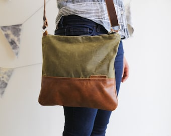 Waxed Canvas and Leather Crossbody Bag Olive / Handmade Leather and Canvas Purse / Foldover Bag with Strap