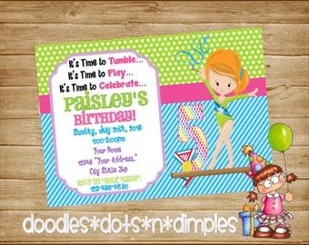 Personalized  Printable Gymnastics Birthday Invitation