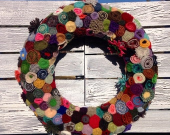 Colorful Rolled or Standing Wool Wreath