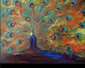 PEACOCK Art ORIGINAL Oil Painting Modern Abstract Art 48x36 by BenWill