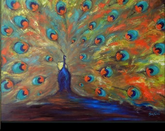 Oil Painting Peacock Modern Abstract Art 48x36 by BenWill