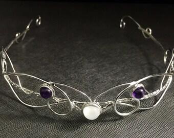 Bespoke Gemstone Wedding Tiara, Art Nouveau Bespoke Bridal Circlets, Renaissance Circlet, Sterling Silver Circlet, Handmade Tiara OOAK