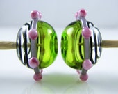 Lime Purple Pink Swirl Hollow Lampwork Glass Bead Pairs
