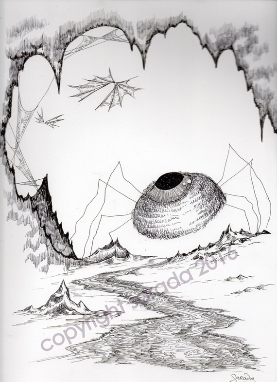 Eyeing The Prey Horror Monster Eyeball Art Gothic Pen And Ink