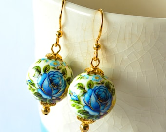 Aqua Blue Rose Japanese Tensha Gold Beaded Earrings