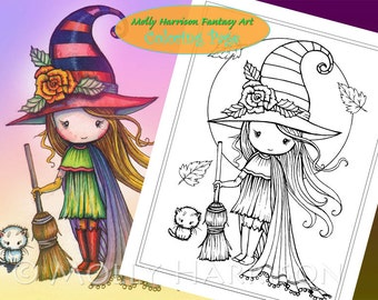 Little Halloween Witch with Broom - Digital Stamp - Printable - Molly Harrison Fantasy Art - Digi Stamp / Coloring Page - Instant Download
