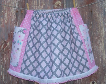 Girls Big Pocket Skirt in Pink & Gray Girl's Size XL 10-16 OOAK