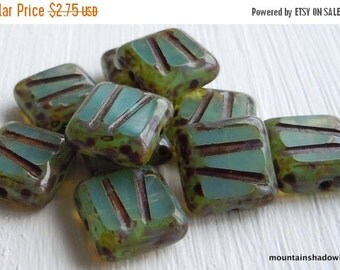 25% OFF Summer Sale 10mm Square Czech Glass Beads - Milky Aqua Picasso 10 Beads