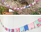 Long Scrap Fabric Flag Bunting Garland - Over 7 feet - colorful, pink, purple, blue