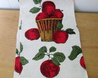 vintage apple linen tea towel
