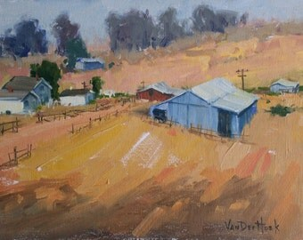 Assorted Barns - 11 x 14 Inch Original Oil Painting of a Farm - Living Room Art - Farm Painting - Ranch Art