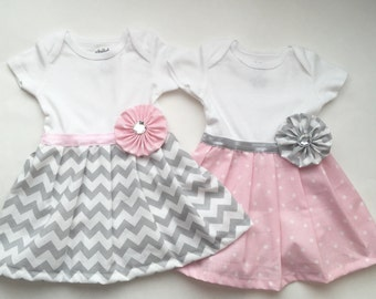 Baby girl DRESS...in Polka dots OR Grey chevron..girls clothing..infant and toddler sizes available