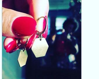 SALE Lightweight Brass Geometric Drop Earrings - Minimalist Earrings - brass Earrings - geometric shape jewelry Free Shipping