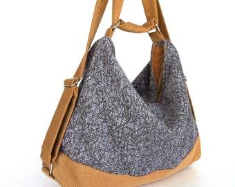 Convertible backpack purse , Gray hobo purse , women shoulder bag , hobo bag purse ,fabric hobo bag , shoulder strap purse , women backpack
