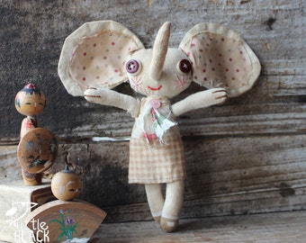 Primitive cloth doll, Mel the elephant