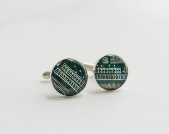 Green Circuit Board Cuff Links - Upcycled Technology Art - Geeky Jewelry - Groomsmen Gifts