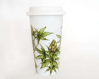 White Ceramic Travel Mug  - Cannabis Plant | Botanical Collection