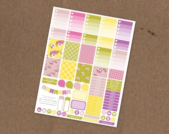 Printable Spring Gingham Weekly Planning Sticker Kit- Ombre Check Boxes, Icon Stickers, Pattern boxes - ECLP, MAMBI Happy Planner, Filofax