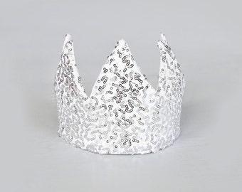 Dress Up Crown - Sequin Crown - Birthday Crown - Silver Sequin Crown - Silver Crown - Fits all - Reversible Crown