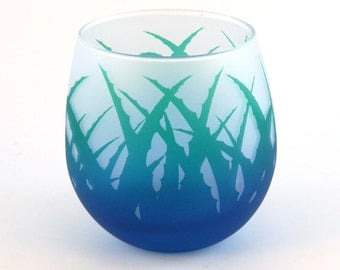 Wild Agave Stemless Wine Glass - Frosted and Painted Glassware - Custom Barware