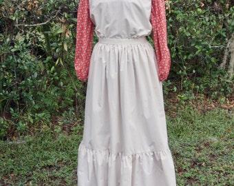 Ladies, size 8/10, Pioneer/Prairie costume in red and ecru.
