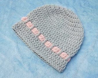 Grey and Pink Crocheted Baby Hat 6-12M