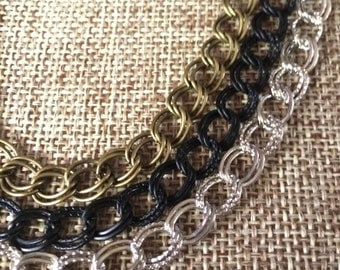 Double Link Curb Chain Necklace in Your Choice of Three Colors / Matte Black Chain / Silver Chain Necklace / Bronze Chain Necklace