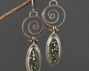 Spirals with Ocean Jasper Earrings