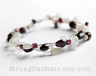 Moonstone and Garnet Strung-Out Mandolin string bracelet