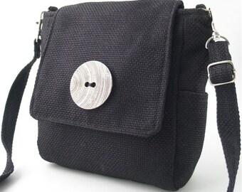 Black backpack converts to messenger  bag, black purse, womens handbag, black crossbody bag, zipper backpack , fit IPAD