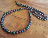 Oil Slick Hematite Necklace - Multicolored Rainbow Titanium Plated Non Magnetic Hematite Stone Beaded 26 Inch Necklace