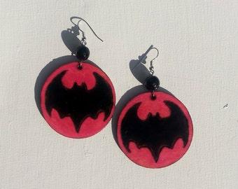Pink Batman Emblem Earrings Woodburned
