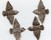 Small Silver Brown vELVET BIRDS (4)  Millinery  Pressed Pieces Embossed from Antique Molds MORE AVAlLABLE