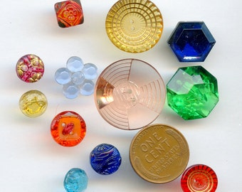 Lot Transparent Glass Vintage Buttons (10) DIFFERENT COLORS Sizes 2839