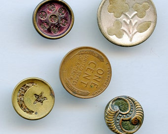 VICTORIAN PERFUME BUTTONS Lot of (4) Antique Metal With Fabric Backgrounds velvet 1652